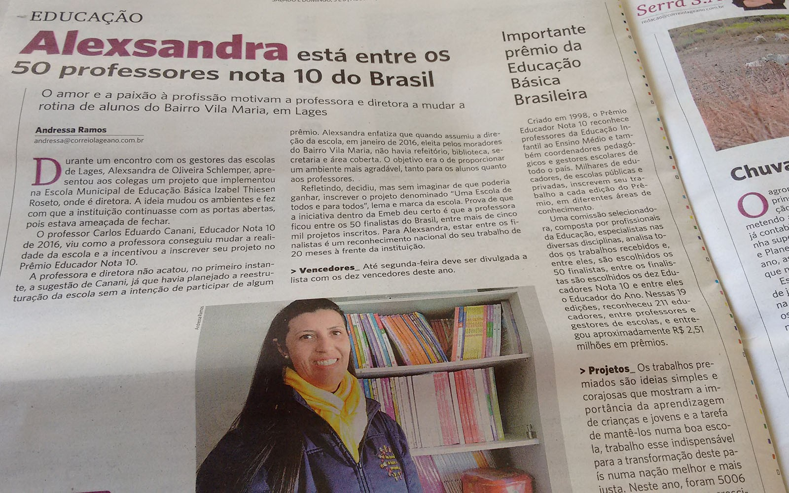 Educadora de Lages entre os 50 professores Nota 10 do Brasil